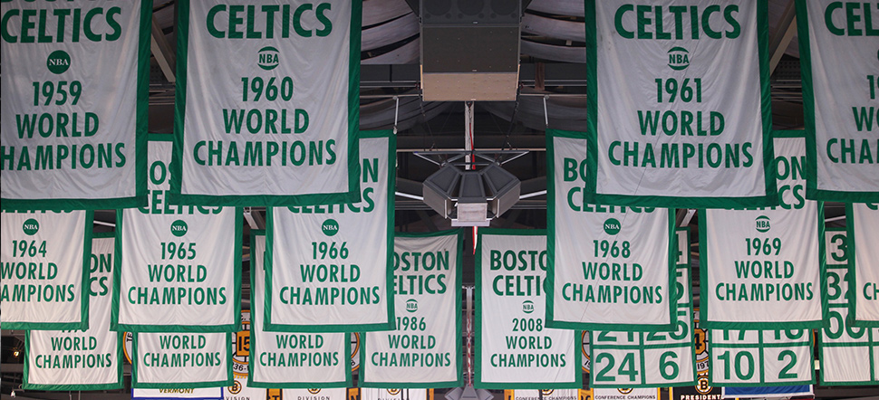 17 banners, Boston Celtics