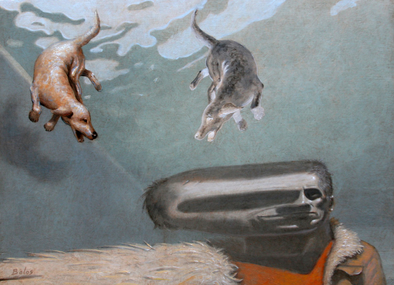 distort me dog - oil on wood - 24 x 33 inch