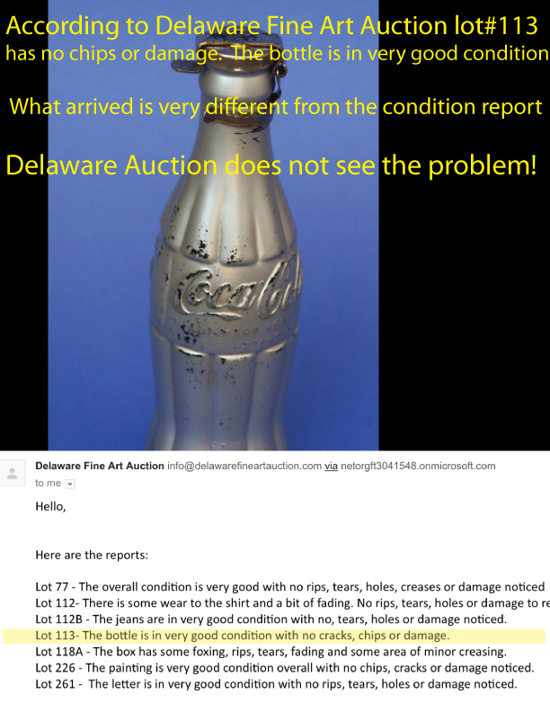Delaware Fine Art Auction condition report states the bottle is in a very good condition with no cracks, chips or any damage.