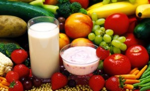 fruits veggies and milk