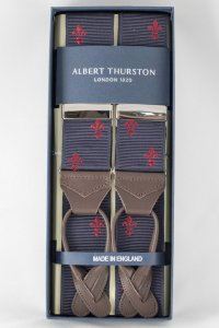 Albert Thurston - Navy And Red Fleur-de-lys Braces
