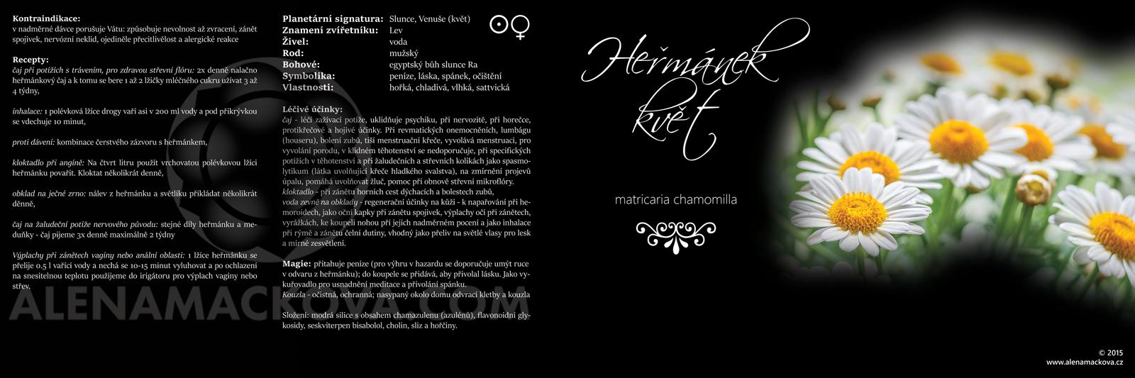 Etiketa heřmánek pravý