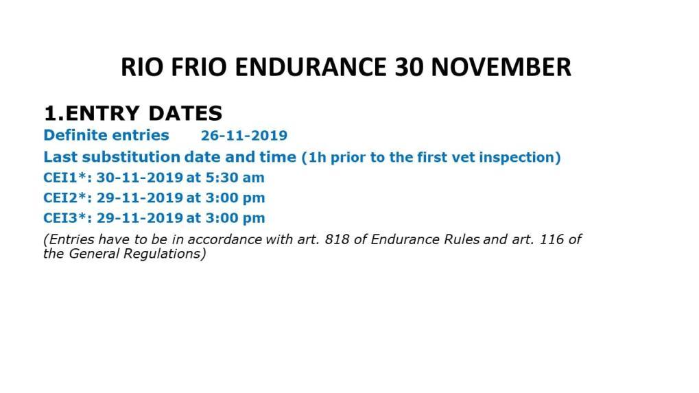 RIO FRIO ENDURANCE 30 NOVEMBER TIMETABLE