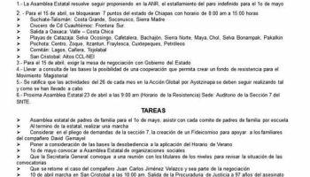Anuncia SNTE y CNTE bloqueo en siete puntos de Chiapas