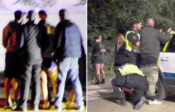 """Escenas registradas en un festival veraniego de música en Malmoe. A la izquierda, un grupo de jóvenes rodea y asalta sexualmente a una joven. A la derecha, la Policía arresta a un sospechoso mientras las víctimas lloran al fondo. El fotógrafo reportó que las chicas suecas fueron asaltadas sexualmente por un grupo de jóvenes """"de procedencia extranjera""""."""
