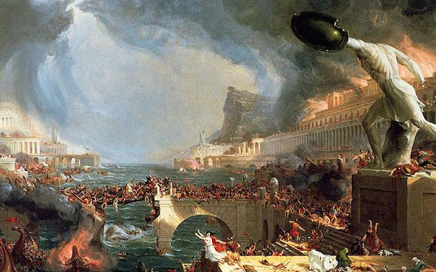 'Destrucción', de Thomas Cole, pintado entre 1833 y 1836. Resume la visión tradicional y apocalíptica sobre el fin del Imperio de Occidente.