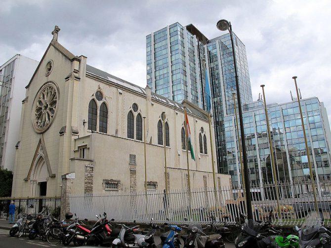 Exterior de la iglesia Santa Rita.