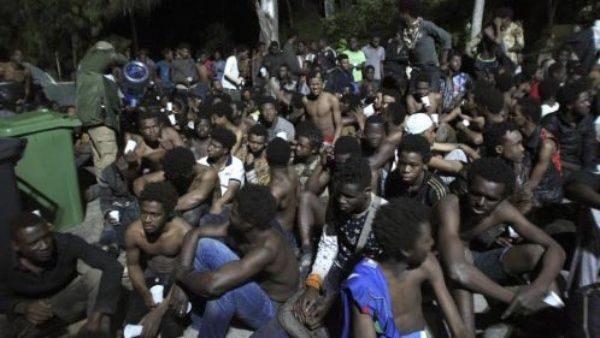 Imagen de algunos ilegales llegados a Melillla tras asaltar la valla.