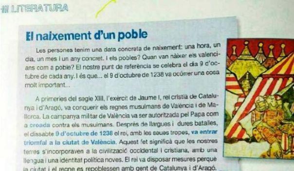 Libro de texto usado en un centro valenciano que dice erróneamente que Jaume I era rey de Cataluña.