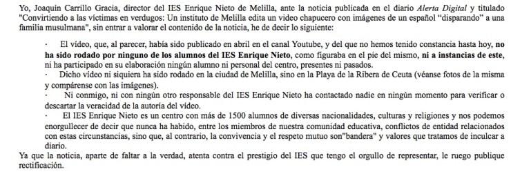 "Desmentido de D. Joaquín Carrillo Gracia, Director del IES ""Enrique Nieto"""