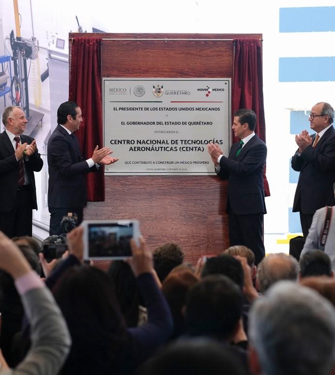 Inaugura el presidente Peña Nieto el Centro Nacional de Tecnologías Aeronáuticas (CENTA) en Querétaro