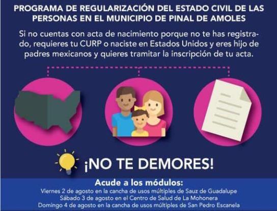 Arranca Programa De Registro Civil En Pinal De Amoles