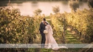 abbraccio sposi nelle vigne