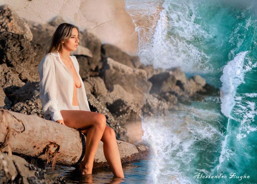 Fotografia artistica di donna al mare