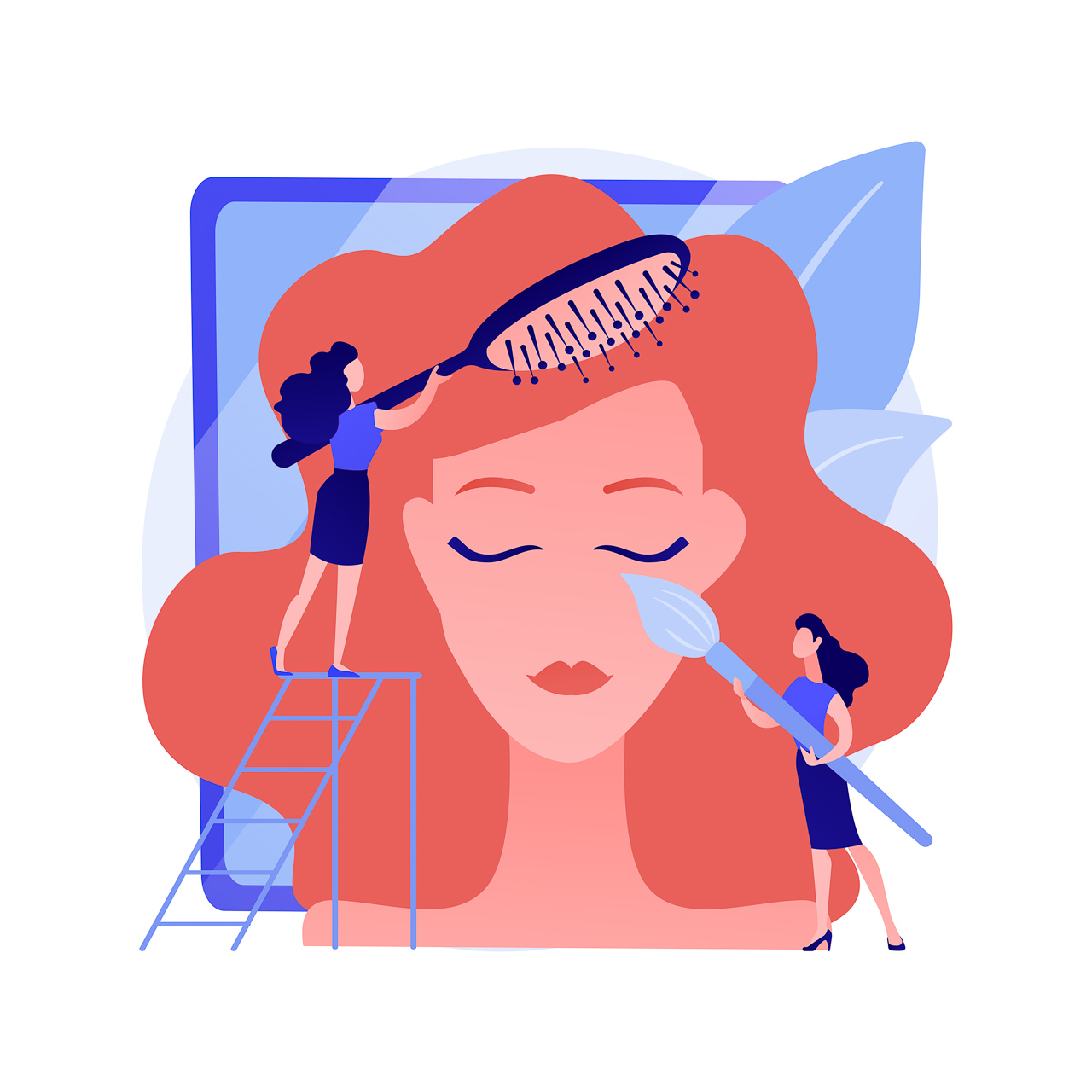 Makeup artist and hair stylist per foto in studio