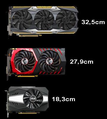 Längenvergleich von drei GTX Grfaikkarten verschiedener Hersteller.