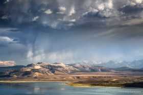 Downpour over Crater Mountain, seen from Mono Lake Vista near Conway Summit (Highway 395), California. October 2014.