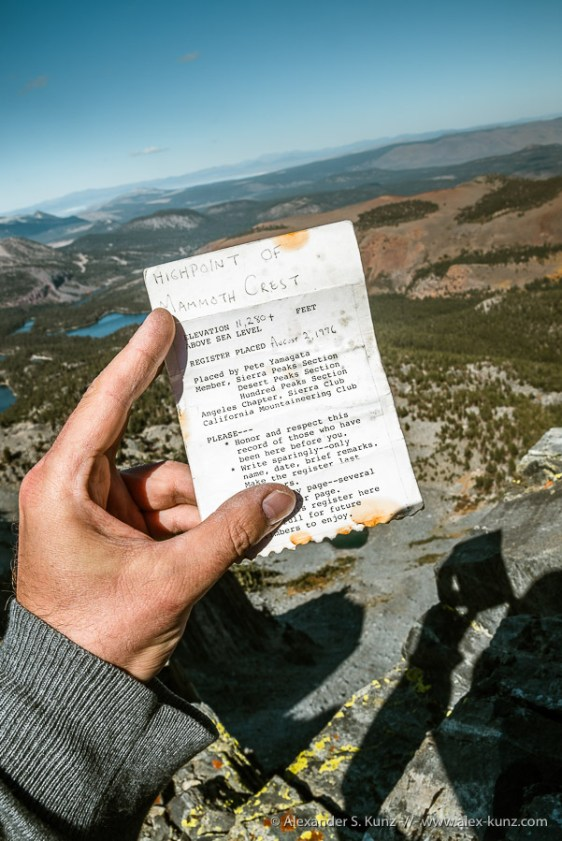 Register Info Sheet -- Mammoth Crest, Mammoth Lakes, California, United States