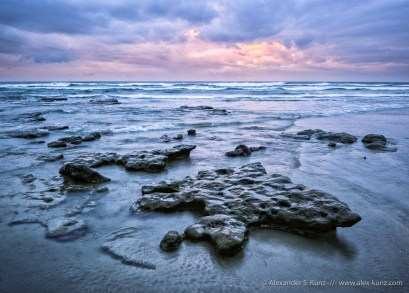 A stormy sunset at the tide pools of South Cardiff State Beach, Solana Beach, California. February 2012.