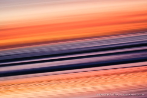 Intentional camera movement (panning) during sunset at Seaside State Beach, Cardiff By The Sea, California. January 2012.
