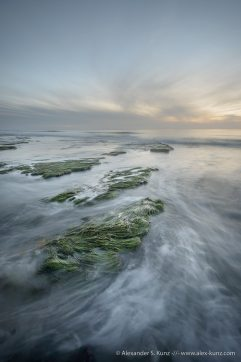 Sunset at Tabletop Reef during negative tide, Cardiff State Beach, San Diego, California. November 2012.