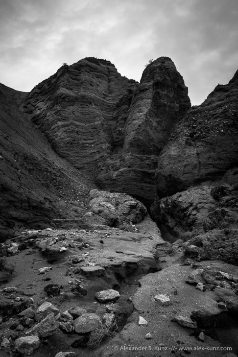 Water channel and towering sandstone in Andrade Canyon, Coyote Mountains Wilderness, California. January 2015.