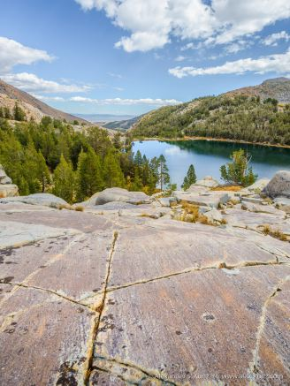 Rock polished by glacial movement.Above Cooney Lake, Bridgeport, California, United States