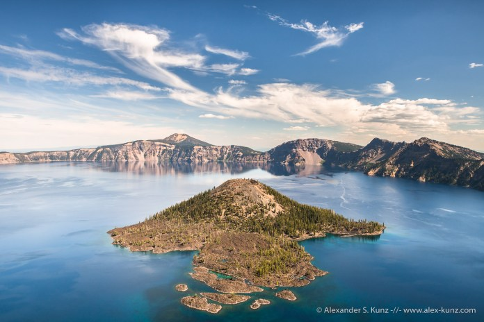 Wizard Island in Crater Lake, seen from Watchman Overlook, Crater Lake National Park, OR. September 2013.