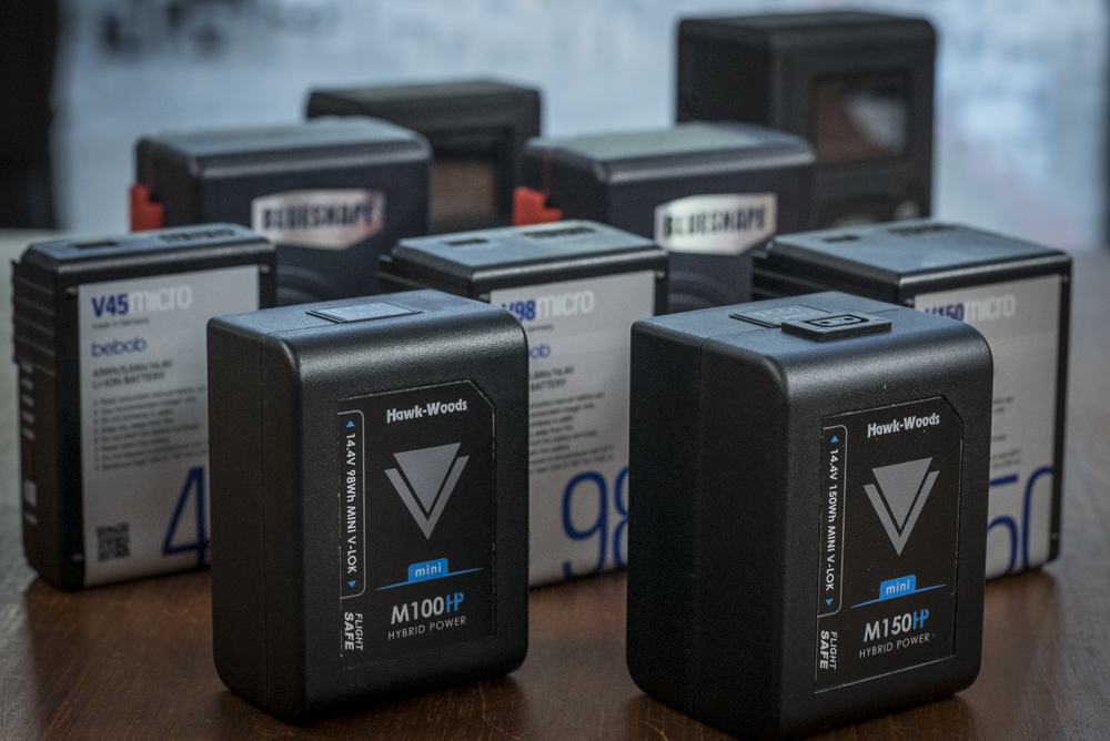 A selection of the V-Mount batteries tested, including Hawk-Woods, Bebob, Blueshape and CoreSWX.