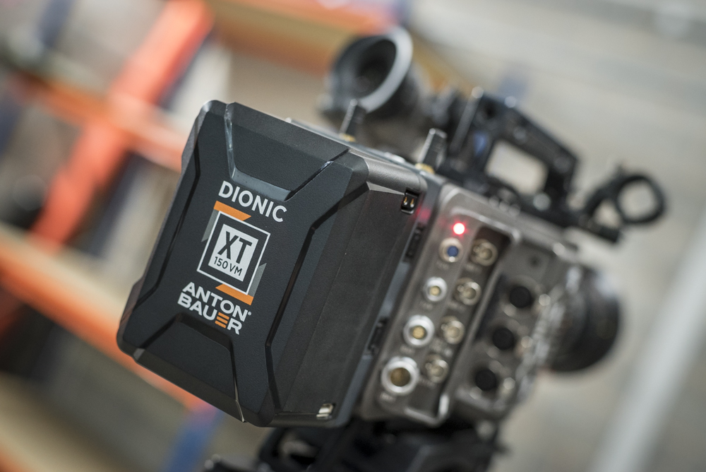 Anton Bauer's new Dionic XT 150VM being tested on the Arri Amira