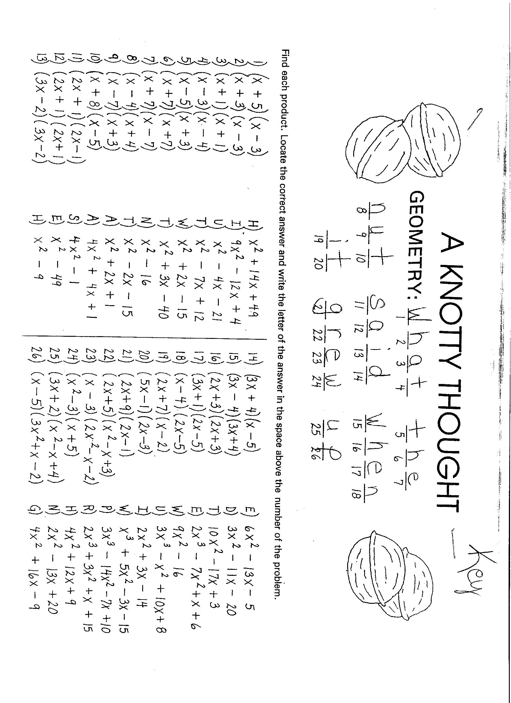Algebra 1 Multiplying Polynomials Worksheet