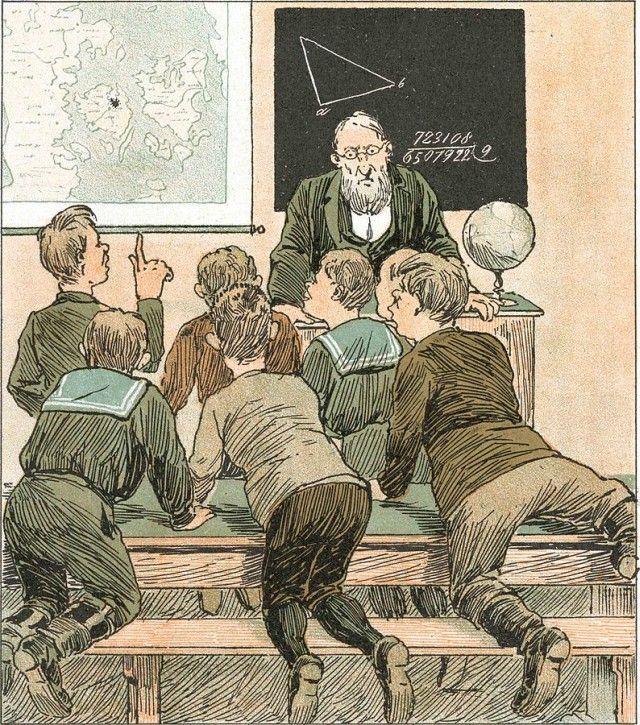 Bild: Mathematik im Unterricht als gemeinfreie Datei. URL: https://commons.wikimedia.org/wiki/File:ISkolenV%C3%A6ggelus_paaFyn.jpg