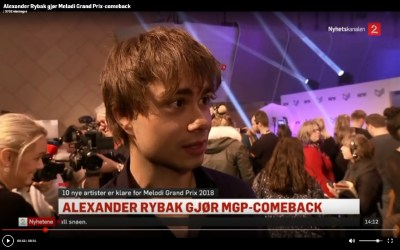 TV2.no. Alexander Rybak (31) makes Comeback in MGP