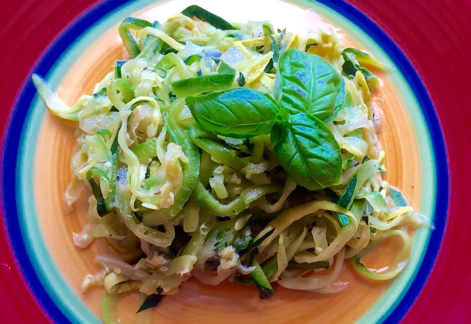 Summer Squash and Zucchini Basil Thyme Spaghetti from Alexandersmom.com
