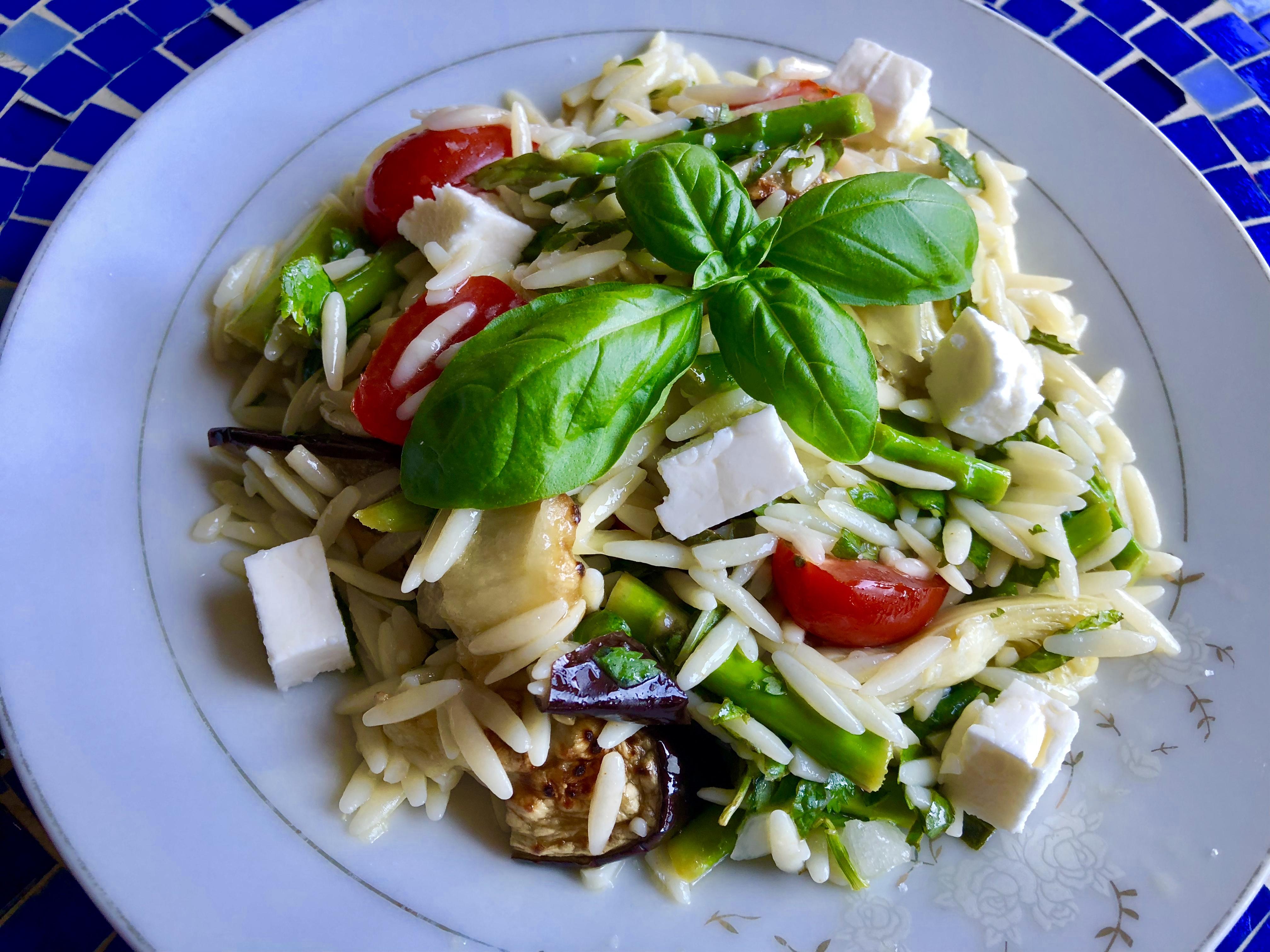 Summer Herb Orzo Salad with Lemon Vinaigrette from Alexandersmom.com