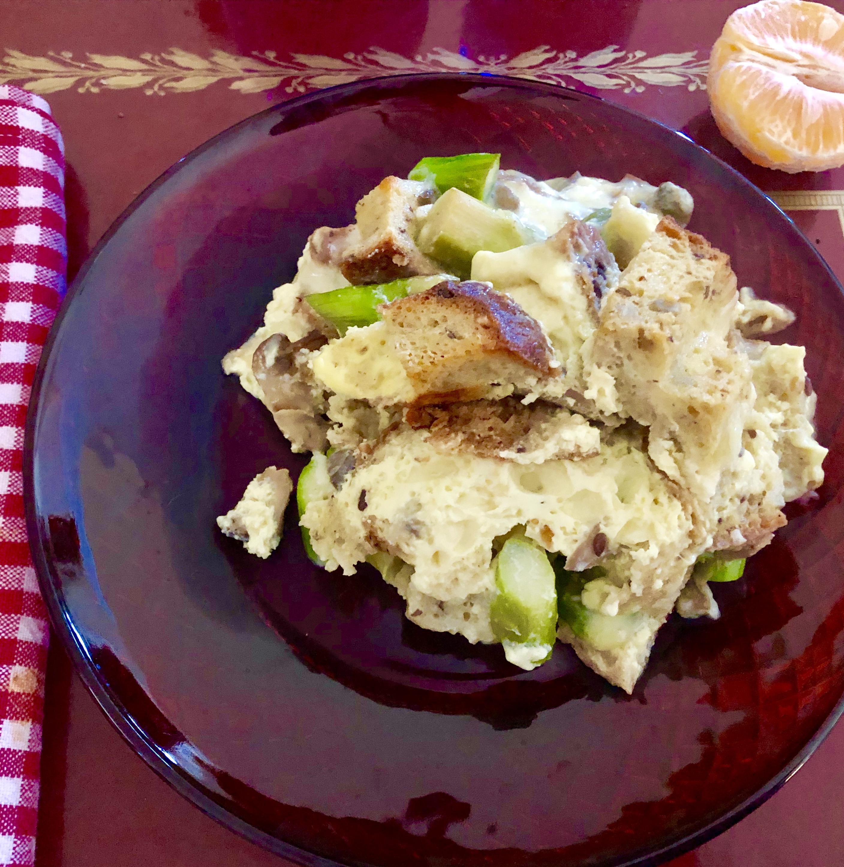 Asparagus Mushroom Dijon Strata from Alexandersmom.com