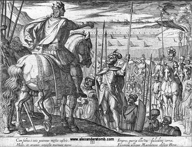 The troops beg Alexander to allow them to return home from India in plate 3 of 11 by Antonio Tempesta of Florence, 1608 (Courtesy - alexanderstomb.com)