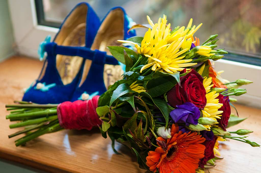 Shoes and wedding bouquet