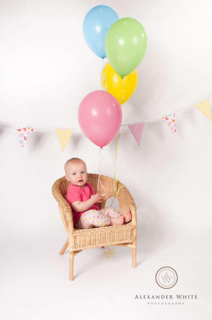 Toddler portrait before cake smash