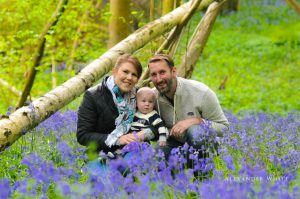 Family in the bluebells