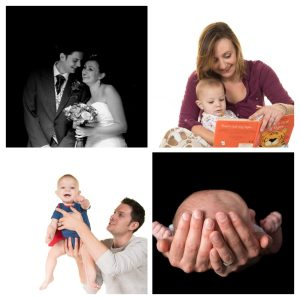 Family photos, showing their family from wedding day through first child as a newborn and on to that child becoming a toddler