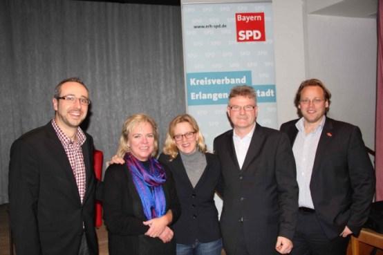 Mit Natascha Kohnen, Generalsekretärin der BayernSPD, und Christian Pech (rechts), stv. Landrat in Erlangen-Höchstadt, sowie Marco Kreyer und Johannes Karl (SPD Bubenreuth)