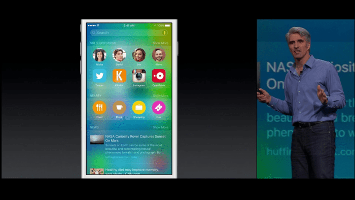 Craig Federighi talking about Spotlight in iOS 9
