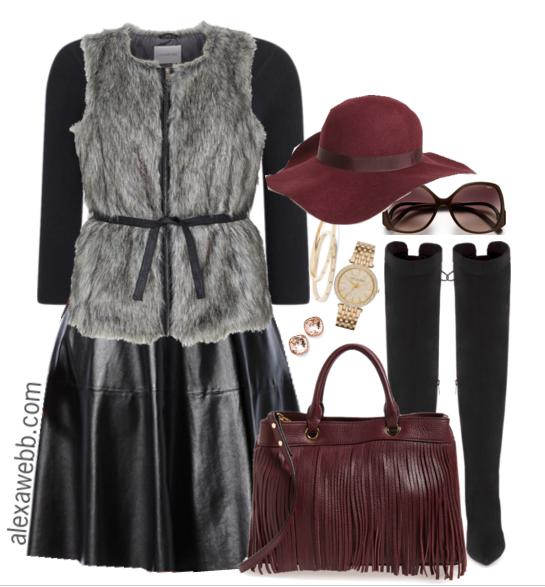 Plus Size Fashion - Plus Size Leather Skirt Outfit Idea - Alexa Webb - alexawebb.com