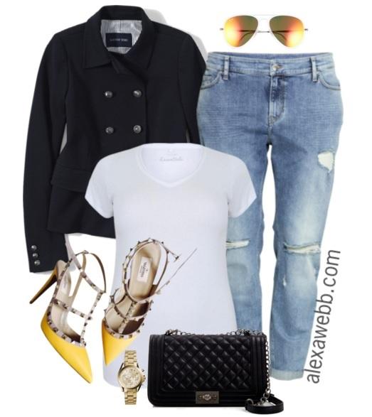 Plus Size Casual Outfit Idea - Plus Size Boyfriend Jeans and a Tee - Plus Size Fashion for Women - alexawebb.com #alexawebb #plus #size