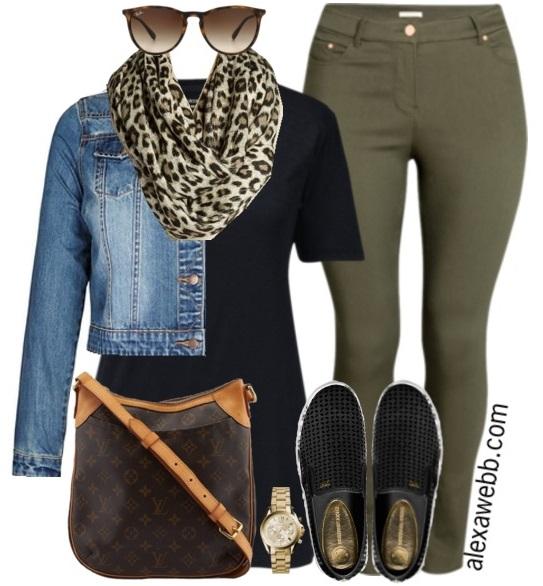 Plus Size Casual Outfit Idea - Khaki Skinnies, Leopard Scarf, Denim Jacket, LV purse and Slip-On Sneakers - Alexa Webb