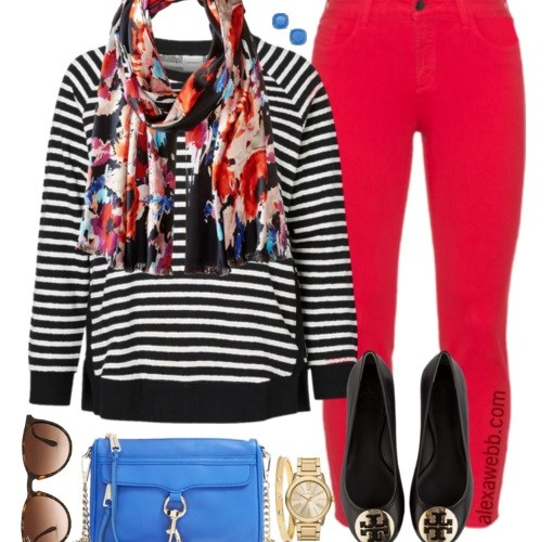 Plus Size Outfit Idea - Plus Size Red Jeans Outfit - Plus Size Fashion for Women - alexawebb.com #alexawebb #plus #size
