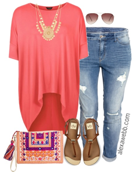 Plus Size On A Budget - Coral Spring Outfit - Alexa Webb