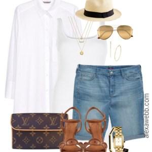 Plus Size Outfit Idea - Plus Size Jean Shorts Outfit - Plus Size Fashion - Alexawebb.com #alexawebb
