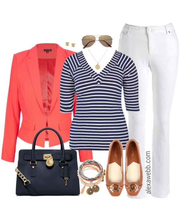Plus Size Coral Blazer Outfit
